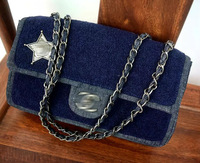 2014 Lady navy cashmere five-pointed star chain Flap Shoulder bag 28cm Free Shipping