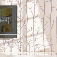3D Wallpaper For Walls For Kid Bedroom Tree Leaf Design Flocking Embossed Wallcoverings Papel De Parede Roll Blue Pink R342