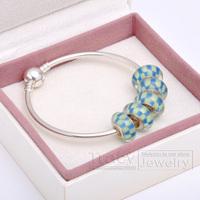 2014 New Arrival! Handmade Women Bangles with Murano Beads B029 for European Pandora(1box&5beads&1bangele) Gift for Xmas