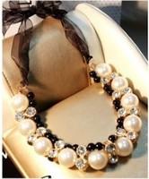 Free Shipping Fashion Women Double Row Pearl Chunky Ribbon Chain Diamante Choker Necklace ZD8P8 (Hot selling)
