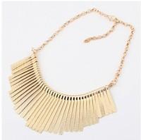 Free Shipping Fashion Metal Multilayer Chain Tassel Tassels Choker Bib False Collar Necklace ZD8P7 (Hot selling)