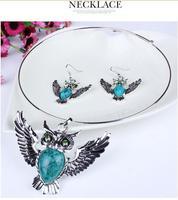 Fashion jewelry 2014 women lovely owl wings pendant&necklace wholesale