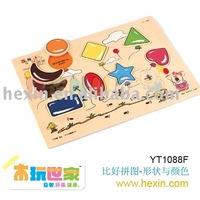 "<BENHO/HIGH QUALITY WOODEN TOY>""Shape & Colors"" Puzzle (wood puzzle,fruit puzzle,baby puzzle )"