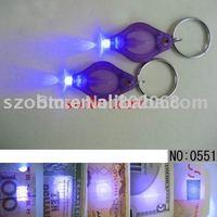 50 Pcs/Lot Free Shipping Promotional UV Purple Light 390-395nm LED Key Chain Light Money Tester