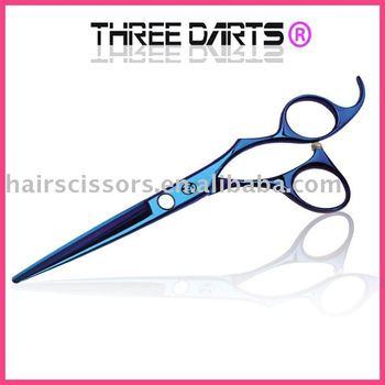 Quality guarantee FREE shippment high quality blue titanium professional barber scissors