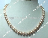 "free shipping,wholesale, 17"" 8-9mm pink freshwater pearl necklace"