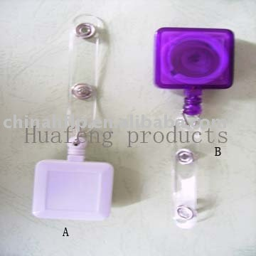 hot selling square design retractable badge holder in plastic material with pvc sticker(China (Mainland))