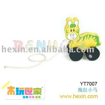 <BENHO/HIGH QUALITY WOODEN TOY>Pulling-along Horse ( plush toy,push house,plush horse )