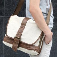 quality guarantee linen + genuine leather 3052 men's shoulder messenger bag