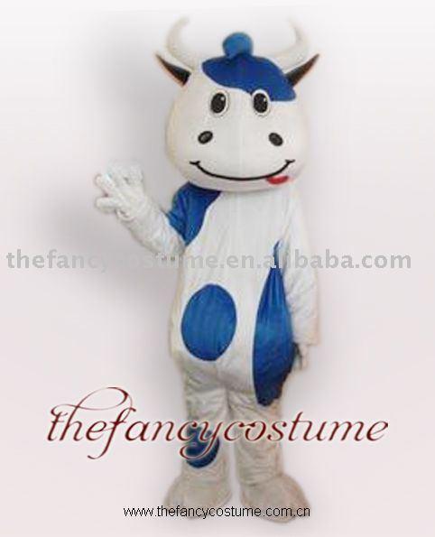 حليب البقر الأزرق متقطعا ملابس تنكرية الطرف الزي التميمة زي شحن مجاني