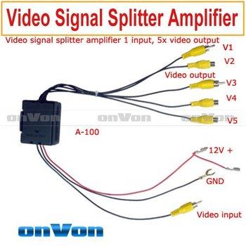 RCA Video signal splitter amplifier booster 1 input, distribut 5 output