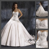 Fast Free Shipping!M9O67*White Satin Strapless Train Bridal Dress Wedding Gown