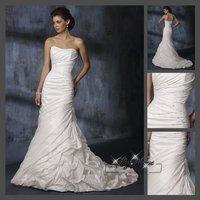 Fast Free Shipping!M9O64*White Taffeta Strapless Train Bridal Dress Wedding Gown