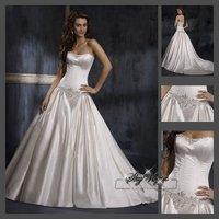 Fast Free Shipping!M9O62*White Satin Strapless Train Bridal Dress Wedding Gown