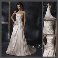 Fast Free Shipping!M9O61*White Satin Strapless Train Bridal Gown Wedding Dress