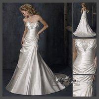 Fast Free Shipping!M9O32*White Satin Strapless Train Wedding Gown Bridal Dress