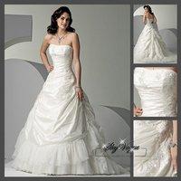 Fast Free Shipping!SM8O55*White Satin Strapless Train Wedding Gown Bridal Dress
