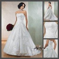 Fast Free Shipping!M7O237* White Organza Strapless Train  Wedding Dress Bridal Gown Wedding Dress