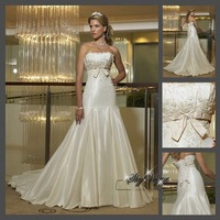 Fast Free Shipping!M7O188*White Satin Strapless Train Bridal Gown Wedding Gown Bridal dress