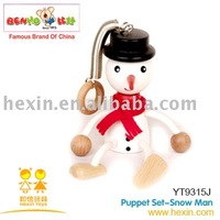 <BENHO/HIGH QUALITY WOODEN TOY>Puppet Set-Snow Man ( Christmas puppet,wooden snow man,Christmas gift )
