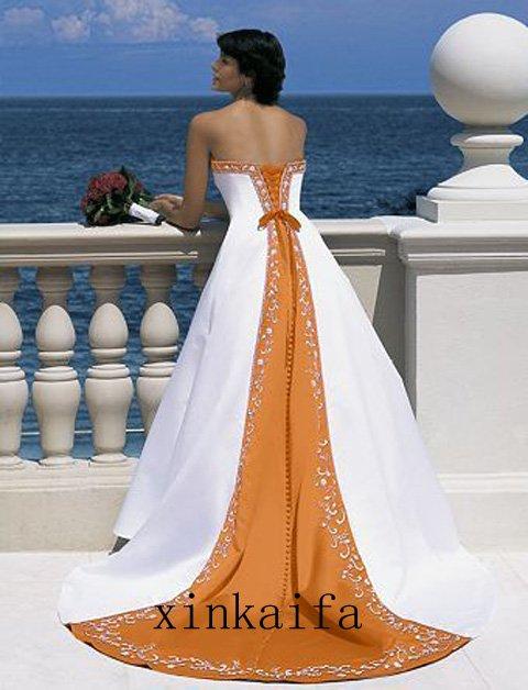 Wedding dresses: orange and white wedding dress