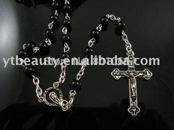 [Mix 15USD] 6mm Pray Black beads Rosary necklace