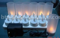 Rechargeable LED candle 12 sets with frosted cup
