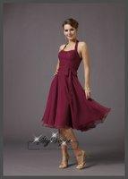 ML732*Halter Ruched A-Line Chiffon Party Elegant Gorgeous Luxury Unique Bridesmaid Dress Short Women Dresses