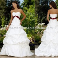 Free shipping CW073 hot sale A-line strapless court train classic Destination Wedding Dress with red sash