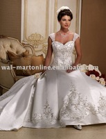 A-line sweetheart cap sleeve floor-length chapel train Royal wedding dress Free shipping NW176