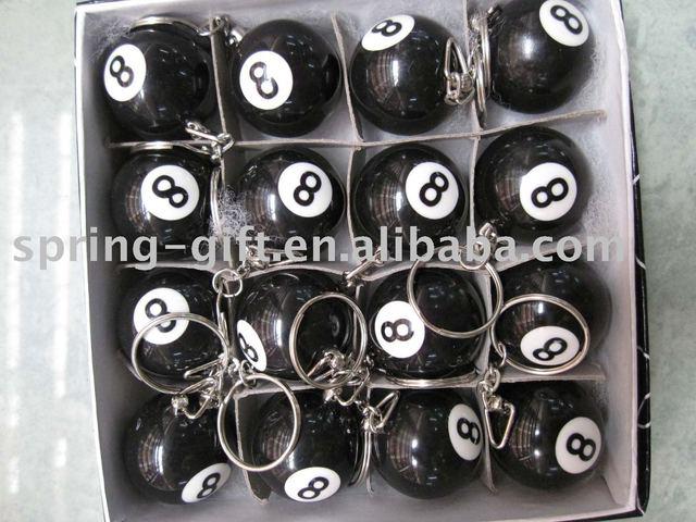 Popular promotion gift black 8 ball key chain and pool ball black ball