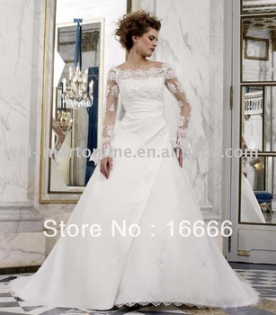 Free Shipping Designer Bridal Dress Appliques White Organza Hot Sale Ball Wedding Gowns Lace Long Sleeve SL05