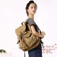Hot wholesale fashionable backpack 6604 khaki stonewashed thick canvas backpack