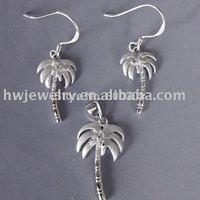 cz sterling silver jewellery set/ palm jewelry set/ palm jewelry / cocount plam silver jewelry