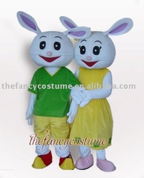 Free Shipping Couple Rabbit Mascot Costume