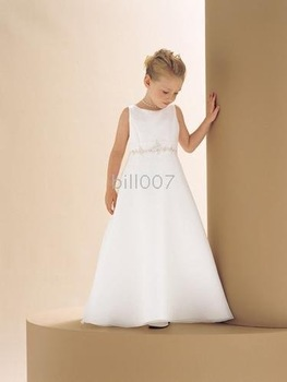 A-line Scoop Floor- Length Flower Girl Dresses 2009 Style SKU510037