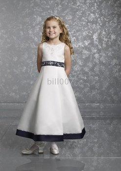 A-line Scoop Tea Length Flower Girl Dresses 2009 Style SKU510187