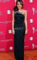 Miley Cyrus embellished satin gown with side split Celebrity Dresses