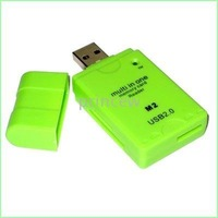 10pcs/lot USB 2.0 Multi in one card reader SD MS TF M2 memory stick card reader color-Mix order