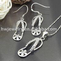 flip-flops 925 Sterling Silver jewelry set /  fashion jewelry set/ sterling silver 925 / solid silver 925