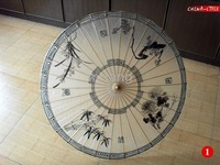 Chinese Style Hand Painted Class Ink Painting Parasol Bamboo Umbrella High-Grade Cotton Paper