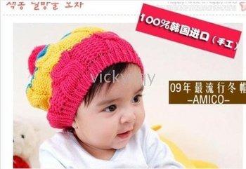 --HOT NEW CUTE Baby hats caps hats headgears infant cap hat kids Colorful line cap-QY312