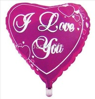 "Hot pink Heart with ""I Love you"" Letter Helilum Foil Balloons for Valentine's Day gift1000pcs/lot"