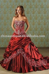 2009 New style wine red strapless wedding dress for bride 028(China (Mainland))