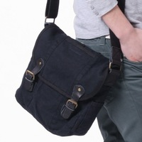 FREE SHIPPING 100% cotton washed canvas shoulder bag 2372 Black messenger,shopping bag, ,escrow,bag