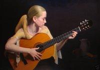 Art oil painting Repro:guitar girl 24x36 inch
