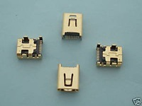100 x Mini USB Jack Female Socket Connector 8 Pin Gold