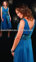 Freeshipping !  CR0066 Plus Size Simple Spaghetti Strap Sexy V Neck Tea Length Chiffon Royal Blue Bridesmaid Dresses