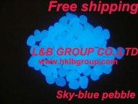 sky-blue glow pebble/photoluminescent stone& free shipping