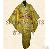 kimono wedding clothing dress dancwear suit 071703 gold free shipping